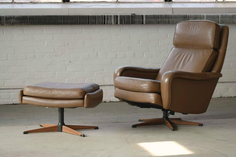 Danish Mid Century Leather Swivel Lounge Chair With