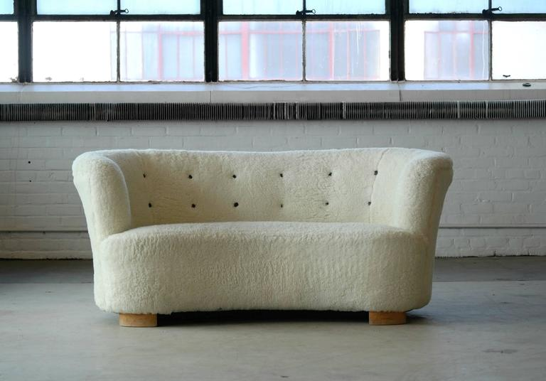 Viggo Boesen Style Banana Shape Loveseat By Slagelse