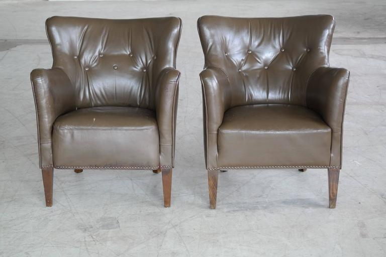 Small-Scale Leather Club Chairs, Danish, Mid-Century For ...