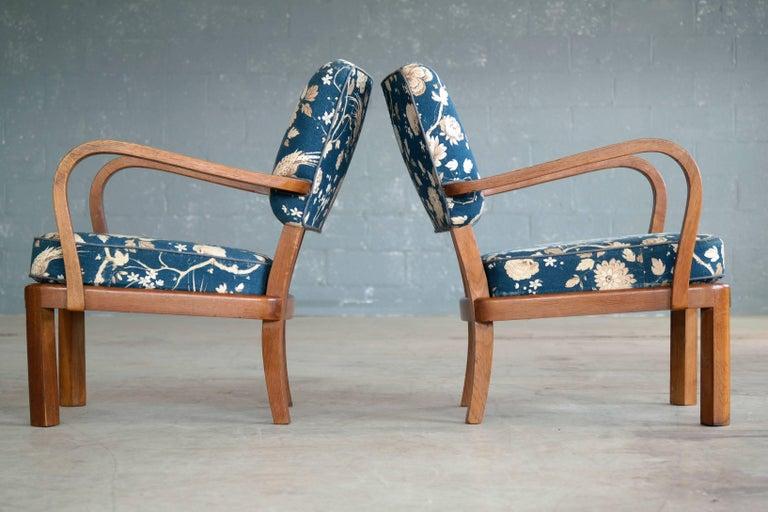 Fritz Hansen Attributed, 1940s Art Deco Danish Open Armchairs For Sale 1
