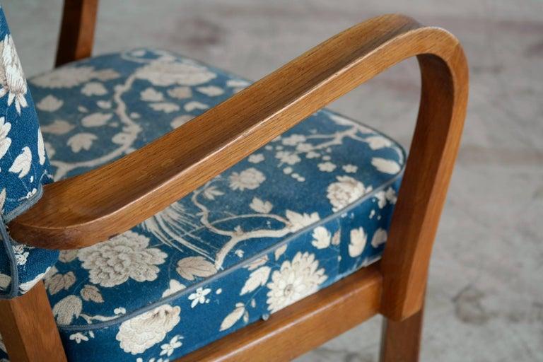 Oak Fritz Hansen Attributed, 1940s Art Deco Danish Open Armchairs For Sale