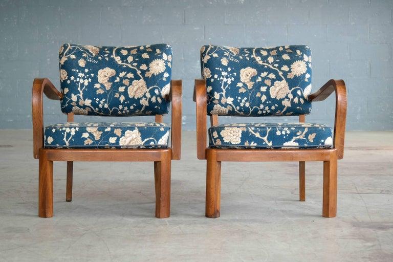 Fritz Hansen Attributed, 1940s Art Deco Danish Open Armchairs In Good Condition For Sale In Bridgeport, CT