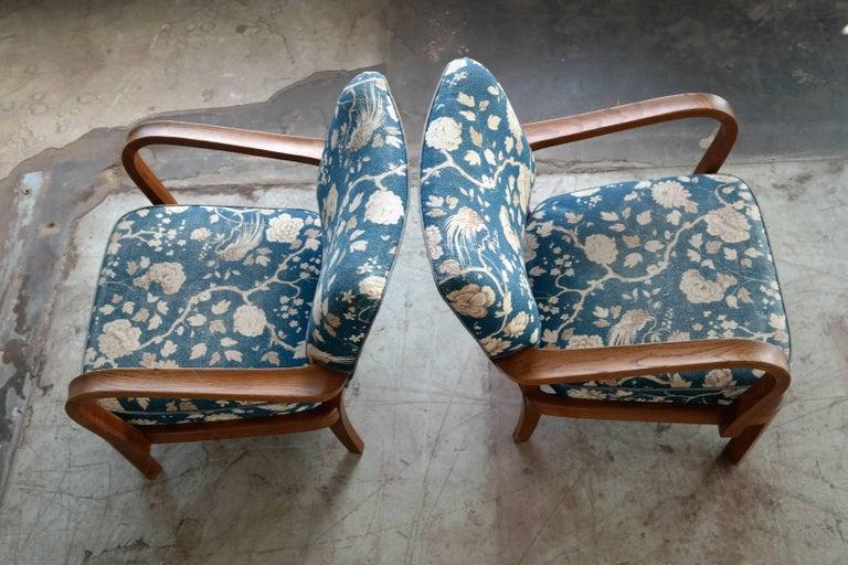 Fritz Hansen Attributed, 1940s Art Deco Danish Open Armchairs For Sale 3
