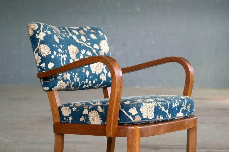 Mid-20th Century Fritz Hansen Attributed, 1940s Art Deco Danish Open Armchairs For Sale