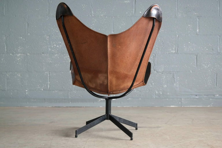 Forged William Katavolos Leather Sling Chair and Ottoman for Leathercraft For Sale