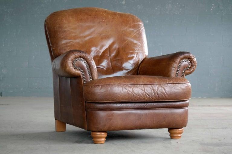 Danish Mid Century Large Size Cognac Color Leather Club