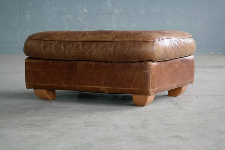 Danish Mid Century Large Size Cognac Color Leather Club