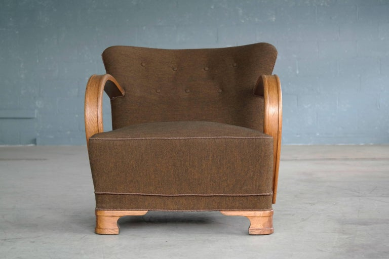 Boesen style 1940s art deco chairs lounge chair in oak and for Art deco style lounge