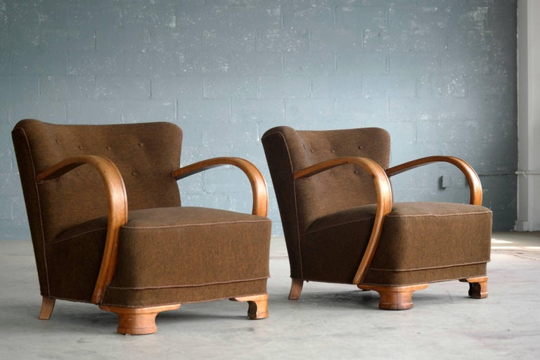 Pair of boesen style 1940s art deco chairs lounge chairs for Art deco style lounge