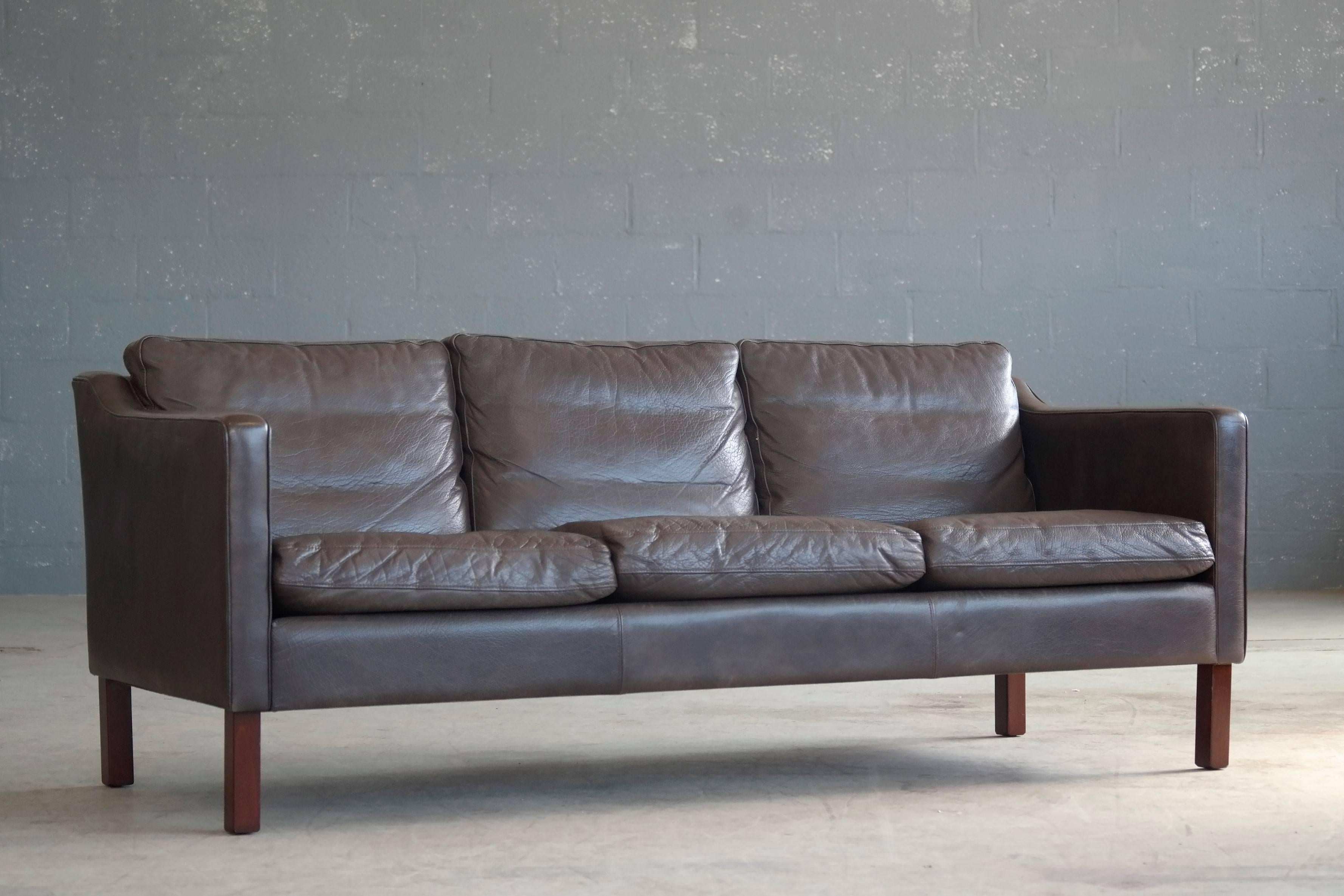 Scandinavian Modern Børge Mogensen Style Sofa In Dark Espresso Down Filled  Leather By Mogens Hansen For