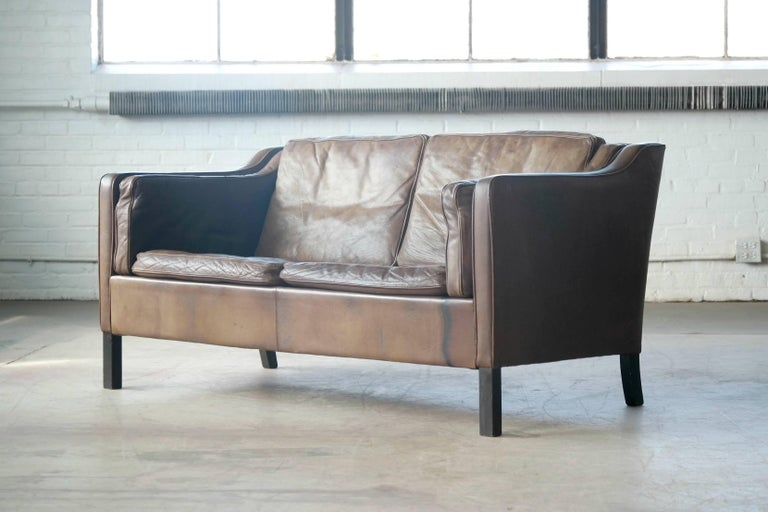 Danish Borge Mogensen Style Two-Seat Sofa in Patinated Buffalo Leather by Mogens Hansen For Sale