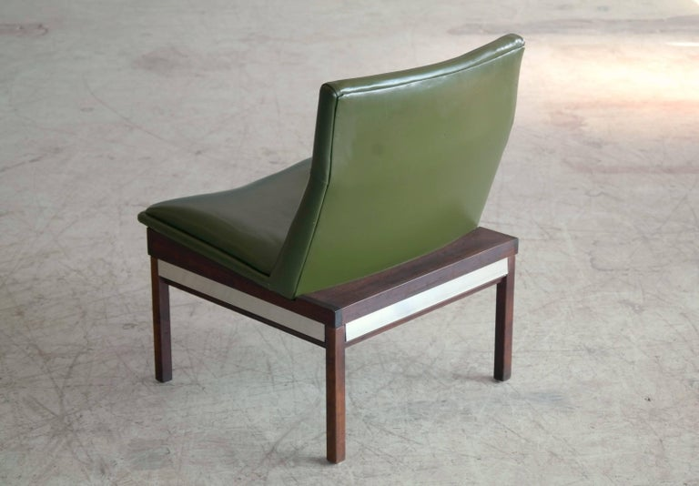 Arthur Umanoff Walnut And Aluminum Lounge Chair For