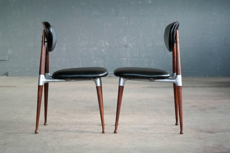 Mid-20th Century Dan Johnson Four Dining Chairs in Walnut and Aluminum for Shelby Williams For Sale