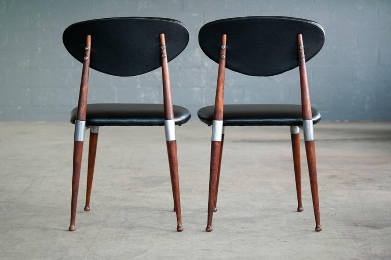Faux Leather Dan Johnson Four Dining Chairs in Walnut and Aluminum for Shelby Williams For Sale
