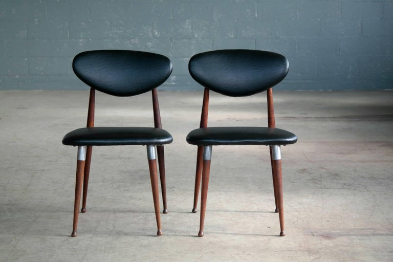 Mid-Century Modern Dan Johnson Four Dining Chairs in Walnut and Aluminum for Shelby Williams For Sale