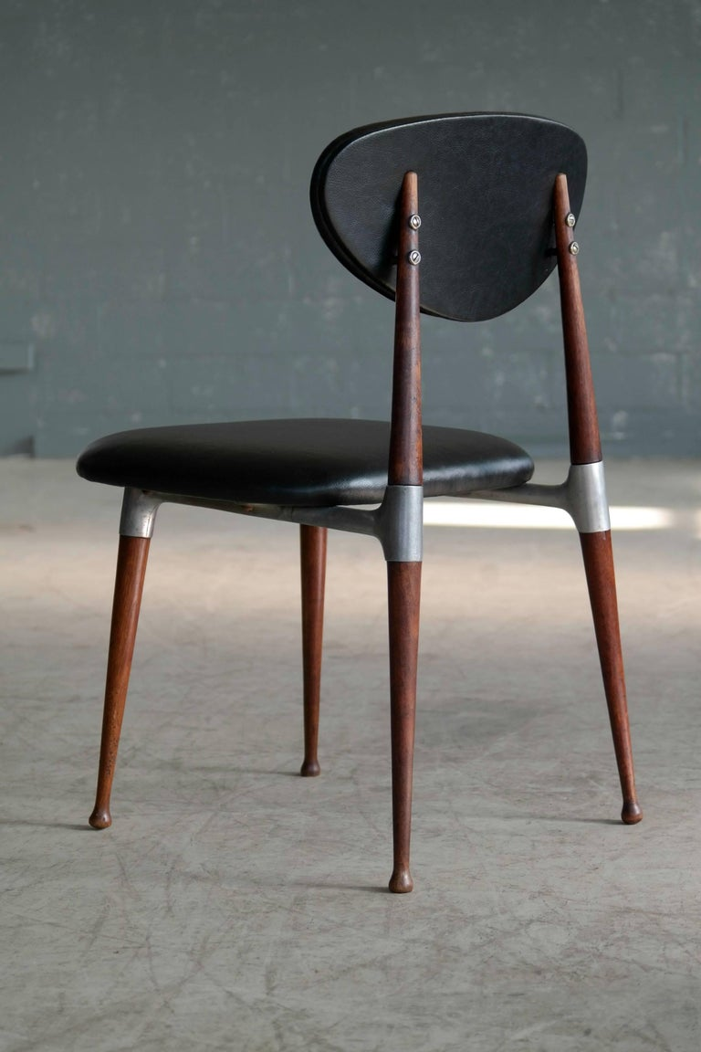 Dan Johnson Four Dining Chairs in Walnut and Aluminum for Shelby Williams For Sale 1