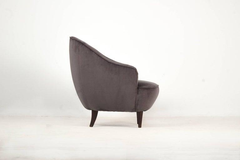 Gio Ponti(1891 – 1977)  Pair of armchairs Manufactured by Casa e Giardino Italy, 1939 fabric, walnut.  Measurements 80 cm x 75 cm x 81,5h cm. 31,5 in x 29,52 in x 32h in.  Literature Gio Ponti: l'Arte Si Innamora dell'Industria, La