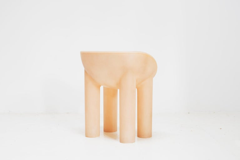 A taller iteration of the Roly-Poly chair, this scoop-seated chair with four plump legs is cast as a single piece of fibreglass, available in milky translucent fibreglass hue that evokes vintage Bakelite Fibreglass Measures: 75cm high x 50cm deep