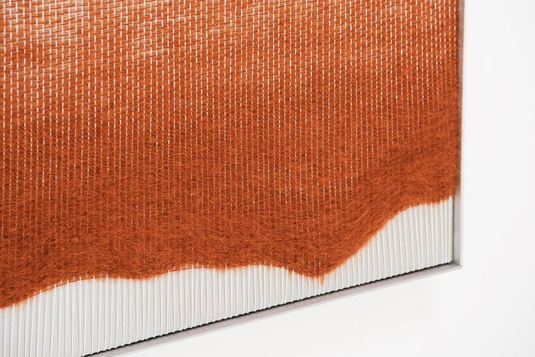 Contemporary Wall Fiber Art, Rust Live Edge Form, by Mimi Jung, La, 2018 For Sale