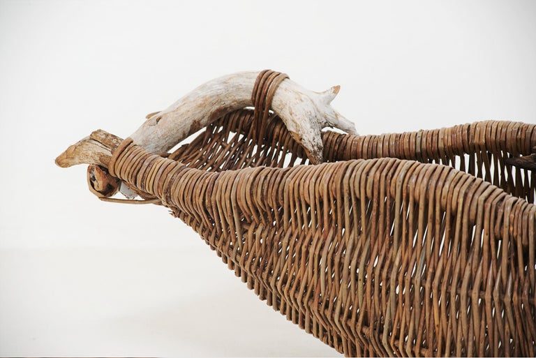 This basket by master basket-maker Joe Hogan showcases his deep understanding between material, craft and place. Using materials grown or found himself, Hogan works with over 20 different varieties of willow, harvesting annually from late November