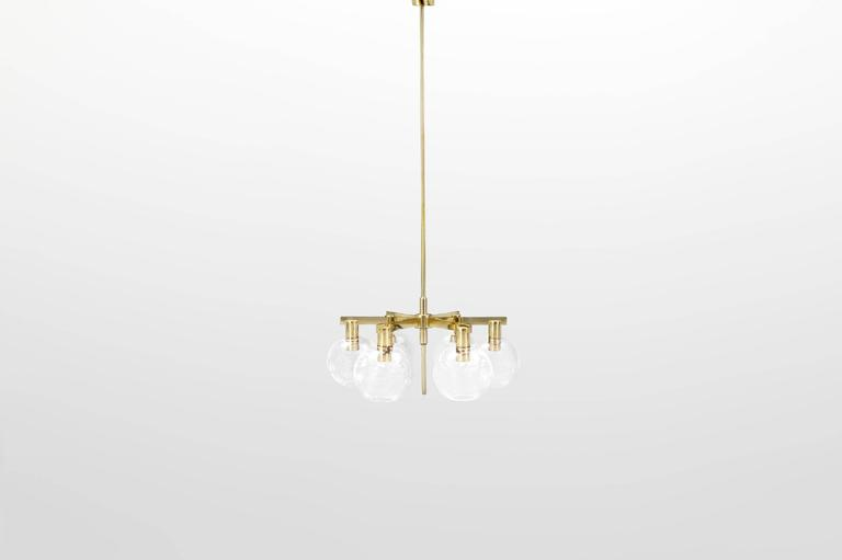 """Hans-Agne Jakobsson(1919-2009).  Pair of ceiling lamp, model """"T348/6 Pastoral."""" Manufactured byHans-Agne Jakobsson AB. Markaryd, Sweden, 1959. Brass and blown glass. Ceiling Lamp Pendants"""