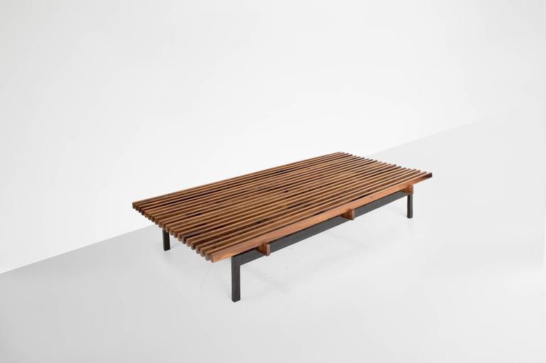 Branco e Preto(Carlos Milan).  Coffee table. Manufactured by Mahlmeister & Cia, Brazil, 1950s. Solid jacaranda, ebonized wooden structure.  Measurements: 180 cm L x 90 cm W x 33 cm H. 70,86 in L x 35,43 in W x 13 in
