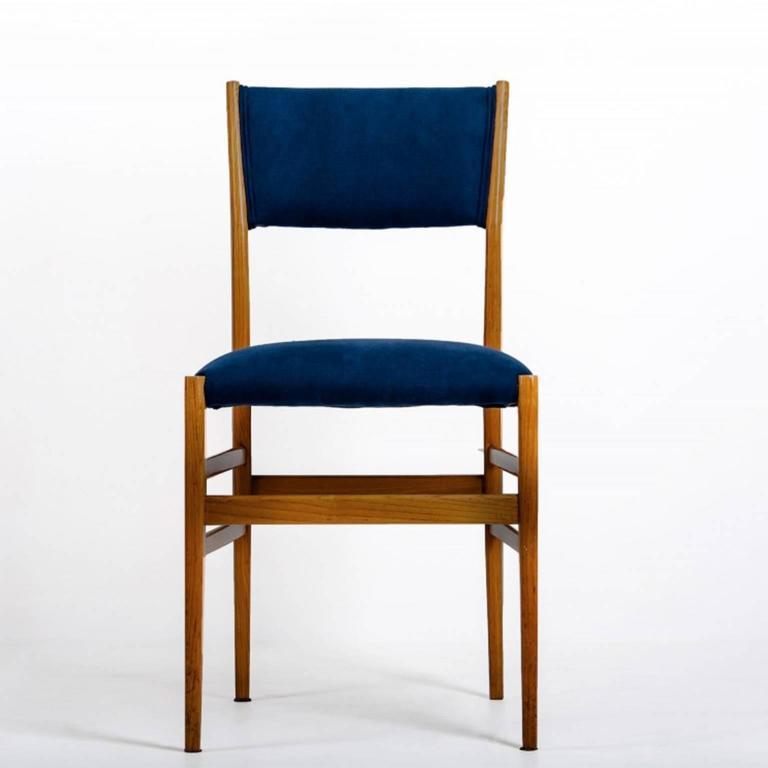 Mid-Century Modern Gio Ponti Set of four Mid-century Blue Italian Dining Chairs Model
