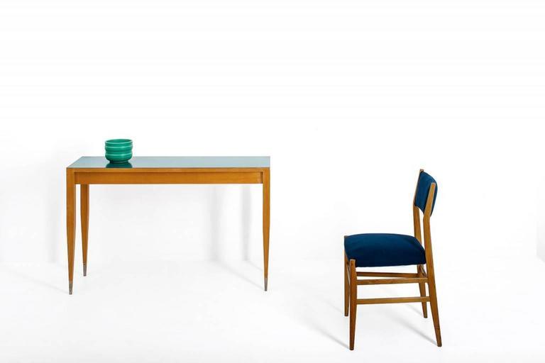 Gio Ponti Set of four Mid-century Blue Italian Dining Chairs Model