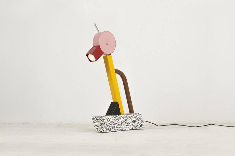 Ettore Sottsass (1917–2007)  Table lamp model tahiti Manufactured by Memphis Milano, 1981 Polychrome enameled metal  Measurements 38 cm x 10 cm x 60h cm. 14.96 in x 3.93 in x 23.62 H in.  Literature Giles de Bure – Ettore Sottsass, Jr,