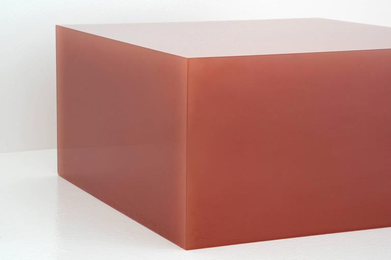 """Sabine Marcelis  Freestanding table in color caramel From the series """"Candy Cubes"""" Manufactured by Sabine Marcelis Produced for Side Gallery Rotterdam, The Netherlands 2017 High polished single cast resin.  Measurements: 60 cm x 60 cm x"""