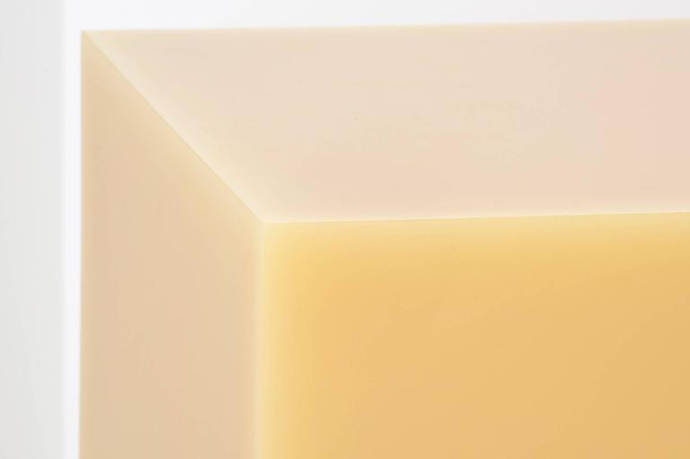 """Sabine Marcelis  Freestanding table in yellow From the series """"Candy Cubes"""" Manufactured by Sabine Marcelis Produced for Side Gallery Rotterdam, The Netherlands 2017 High polished single cast resin.  Measurements 50 cm x 50 cm x 50h"""