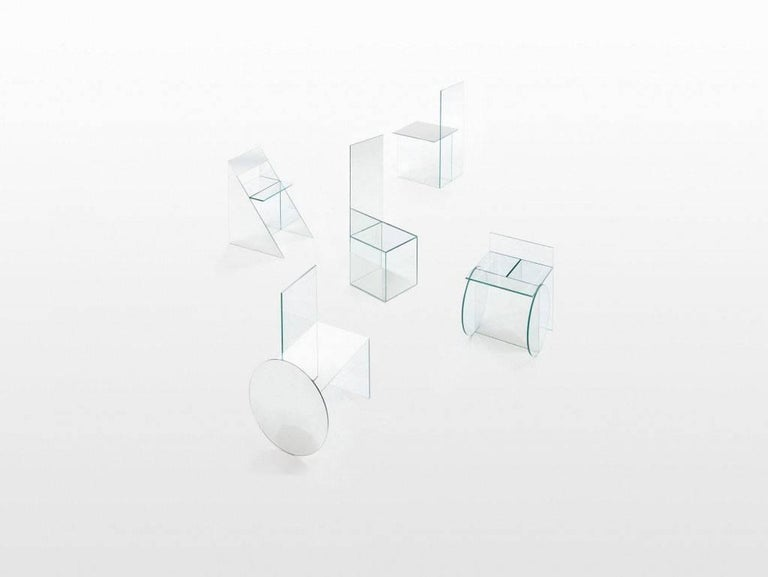 Guillermo Santoma  Glass chair model 5 Manufactured by Guillermo Santomá Edition SIDE GALLERY Barcelona, 2016  Measurements 50 cm x 50 cm x 180h cm. 19,68 in x 19,68 in x 70,86h in.  Details Pieces of glass and mirror united by ultraviolet. Unique