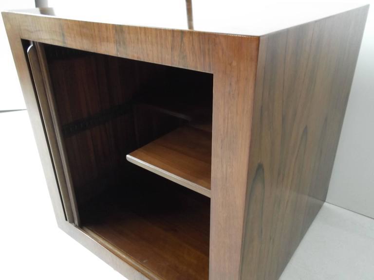 Manner of Harvey Probber Rosewood Cube Rolling Bar Cart Cabinet 2