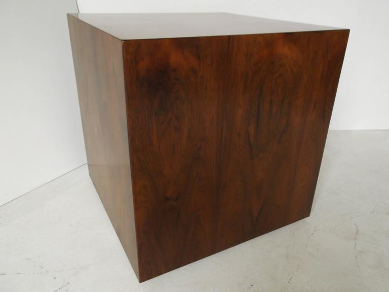 Manner of Harvey Probber Rosewood Cube Rolling Bar Cart Cabinet For Sale 1