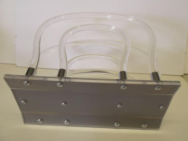 Dorothy Thorpe Chrome Mirror Lucite Magazine Rack For Sale 1