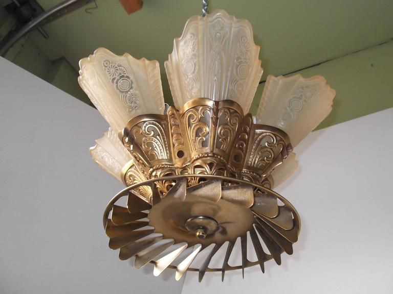 Art Deco Signed Edwin Guth Ceiling Fan Consolidated Glass Slip Shade Fixture 2 : guth lighting fixtures - azcodes.com