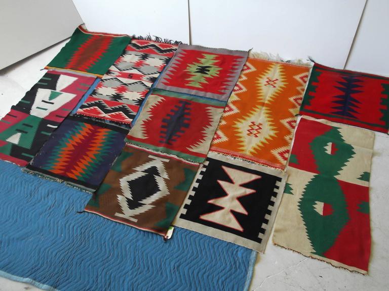 11 Antique Germantown Navajo Native American Indian Sampler Rug Weavings For Sale 5