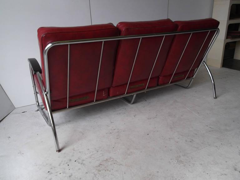 Royal Metal Chrome Three Seat Art Deco Sofa With Original