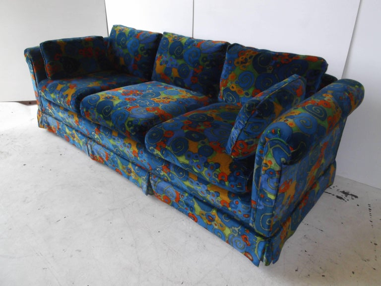 1970 jack lenor larsen samarkand velvet erwin lambeth sofa. Black Bedroom Furniture Sets. Home Design Ideas