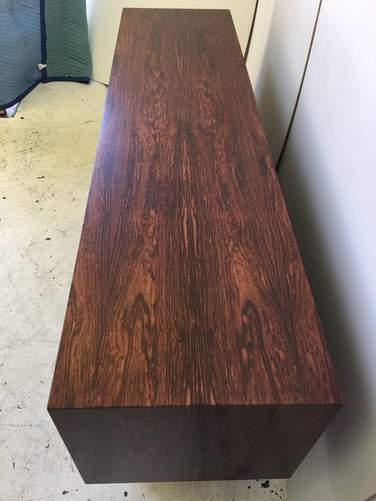 Danish Rosewood Chrome Plinth Base Credenza For Sale