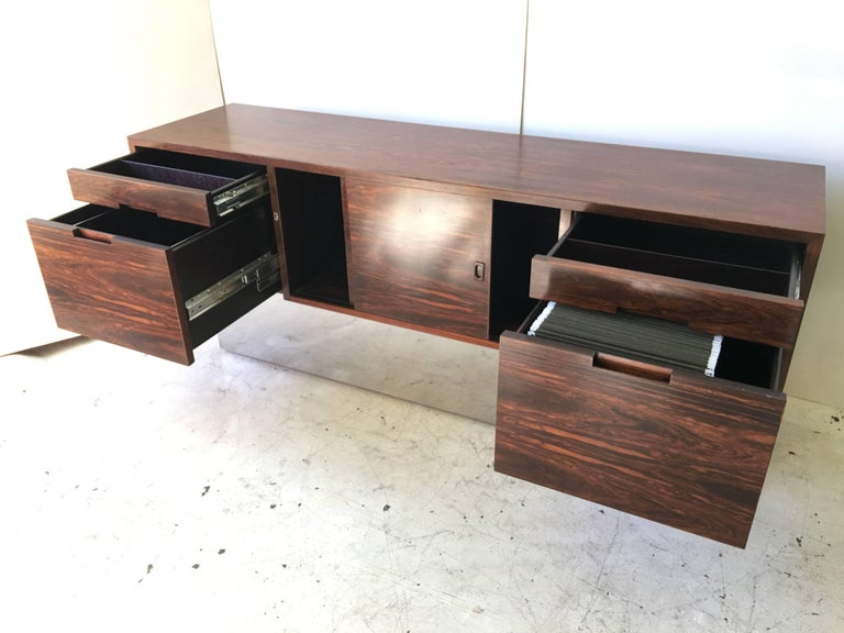 Mid-20th Century Rosewood Chrome Plinth Base Credenza For Sale
