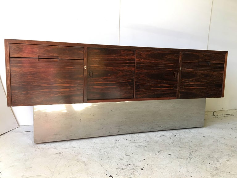 Rosewood Chrome Plinth Base Credenza For Sale 1