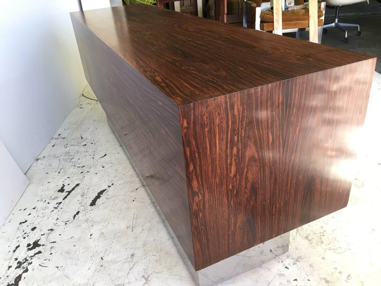Rosewood Chrome Plinth Base Credenza For Sale 3