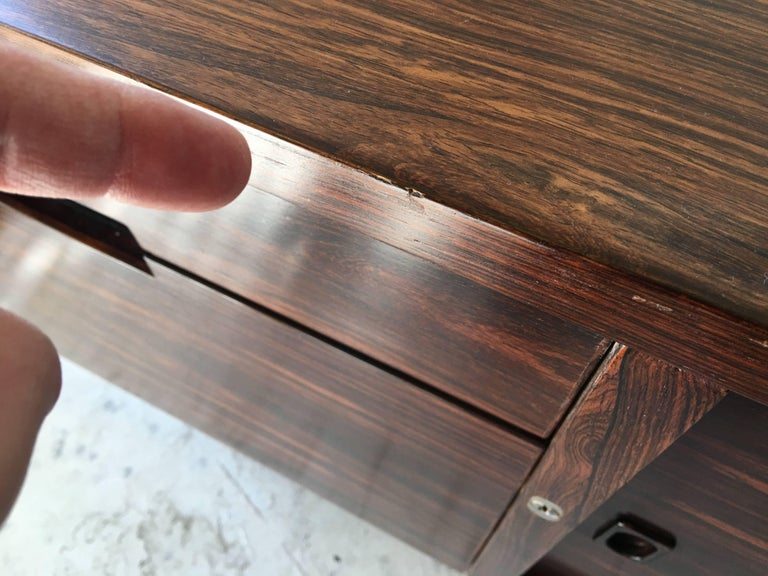 Rosewood Chrome Plinth Base Credenza For Sale 4