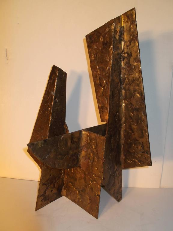 American Jay McVicker Modern Art Abstract Bronzed Steel Sculpture For Sale