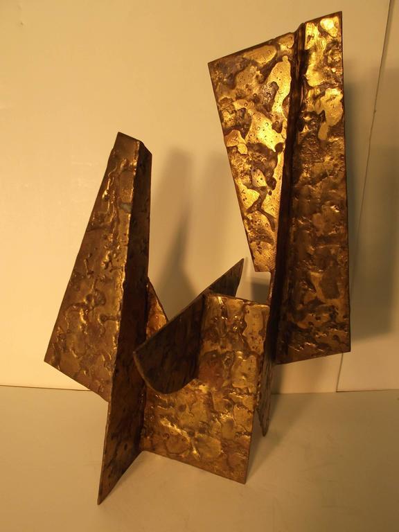 20th Century Jay McVicker Modern Art Abstract Bronzed Steel Sculpture For Sale