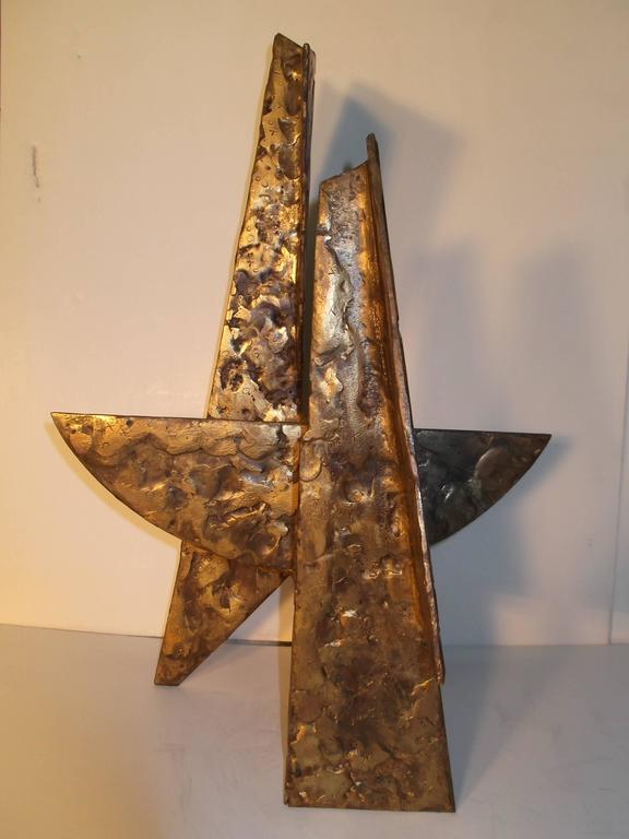 Patinated Jay McVicker Modern Art Abstract Bronzed Steel Sculpture For Sale