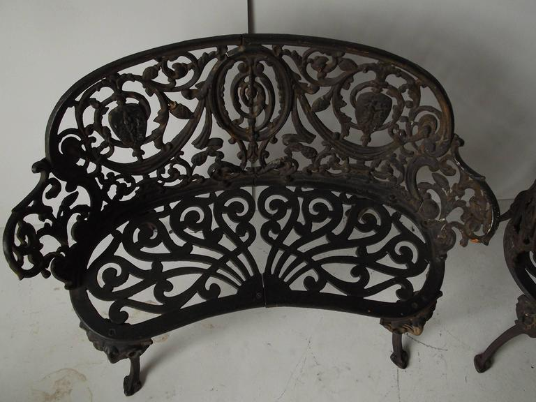 Pair Of Antique Ornate Cast Iron Diminutive Garden Bench