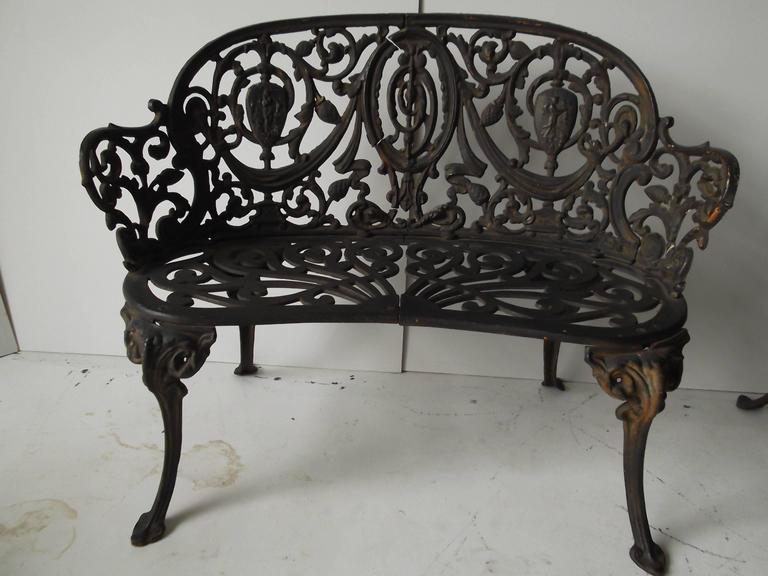 Pair Of Antique Ornate Cast Iron Diminutive Garden Bench