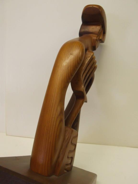 Abstract Mexican Farmer Carved Sculpture California Modernist Artist Frank Petek In Good Condition For Sale In Tulsa, OK
